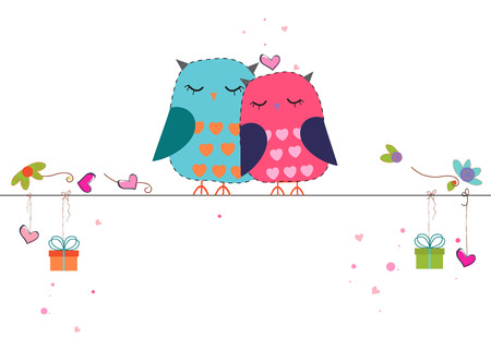 Lovers hanging owls gift box and hearts vector background Ilustração