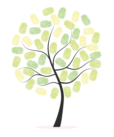 finger prints: Tree with green finger prints vector Illustration