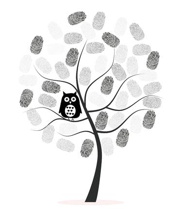 Hecho de la huella digital con el búho negro del vector del árbol del fondo Foto de archivo - 47878764