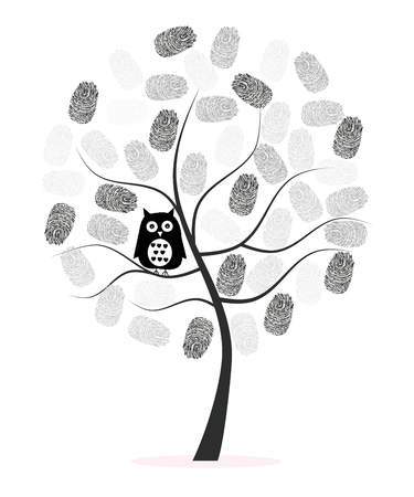 Made of finger print with black owl tree vector background