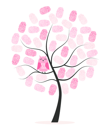 Made of finger print vector background tree with owl