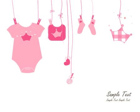 baby girl arrival: Newborn baby girl arrival card symbols vector