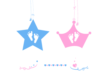 newborns: Twin baby boy and girl baby foot print vector star with crown Illustration