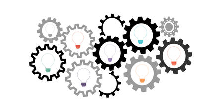 Light bulb with gears and cogs vector background Vettoriali