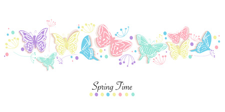 Butterfly and flowers abstract banner vector background spring time Ilustração