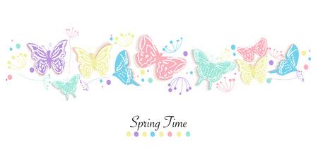 Motyl i kwiaty abstrakcyjne tło wektor banner czas wiosny Ilustracje wektorowe