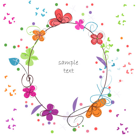fresh flowers: Floral abstract colorful background decorative flower greeting card vector Illustration