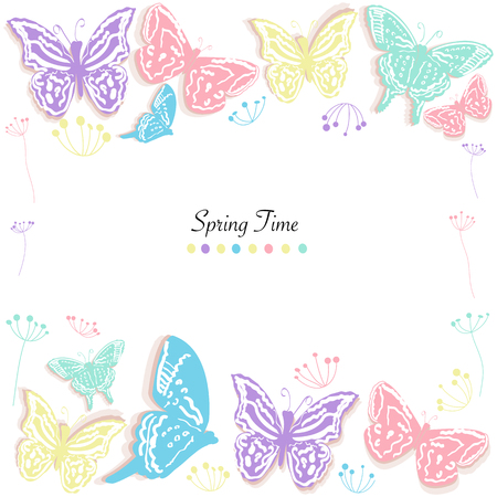 butterfly background: Butterfly and flowers abstract banner vector background spring time Illustration