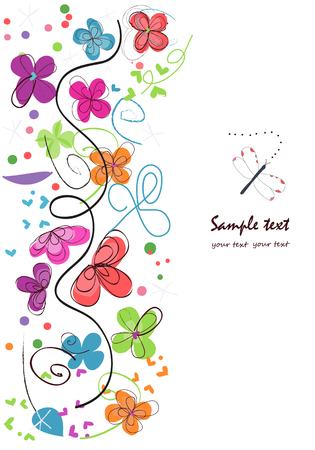 Colorful abstract vector background decorative flowers Vettoriali