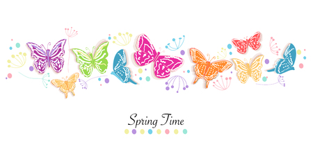 Colorful spring flowers butterflies abstract vector background