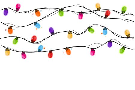Colorful light bulb glowing christmas vector background Иллюстрация