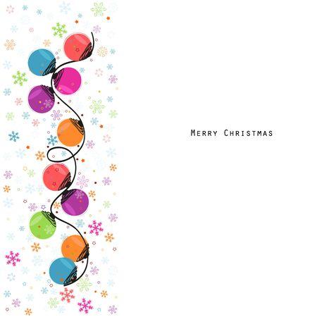 holiday celebrations: Circle christmas light bulbs and snowflakes greeting card vector Illustration