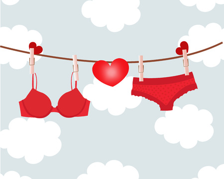 Hanging red lingerie with hearts and clouds background