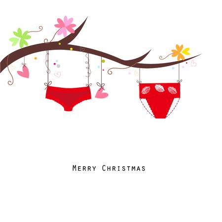 white panties: Panties hanging merry christmas happy new year greeting card vector