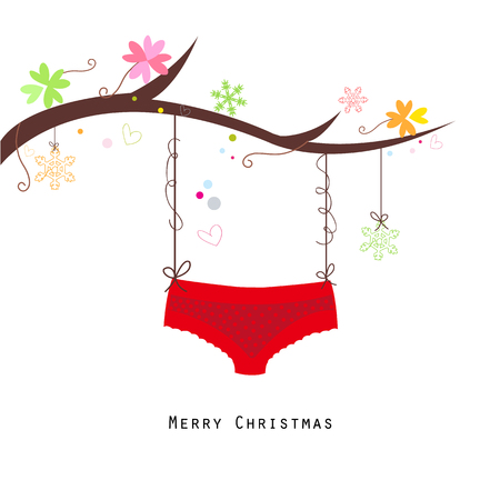 red panties: Merry christmas red panties hanging happy new year greeting card vector Illustration