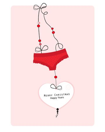Hanging hearts and underwear panties greeting card vector background merry christmas and happy years 向量圖像