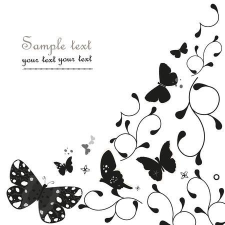 butterfly flower: Black simple floral ornamental vector greeting card with butterfly