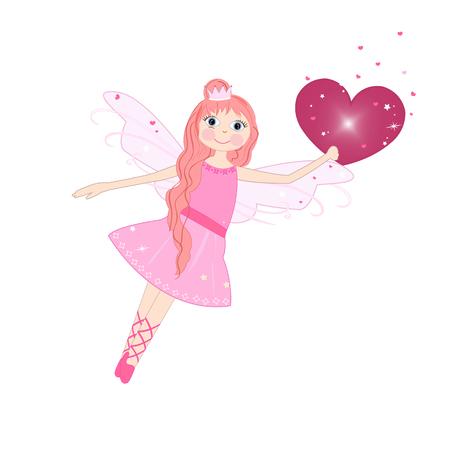 fairy: Cute love fairy tale vector background