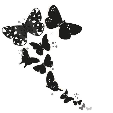 black butterfly: Black butterfly design and abstract decorative flowers vector background