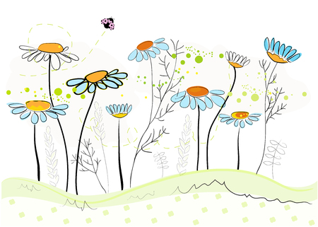 Daisy spring flowers background. Floral abstract background, vector illustration