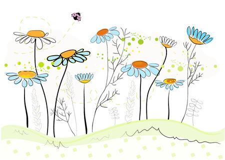 primavera: Margarita flores de primavera de fondo. Fondo abstracto floral, ilustración vectorial