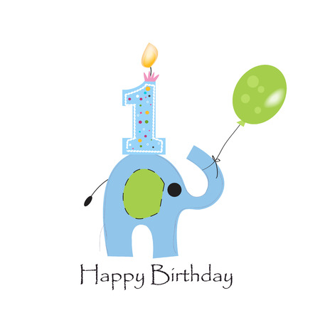 First birthday candle with elephant and balloon greeting card vector Illustration