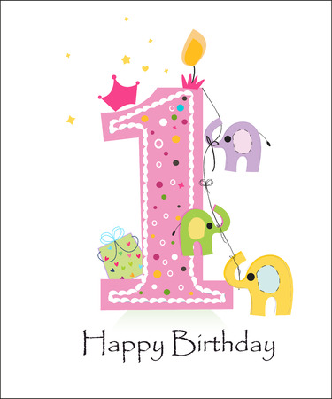 first birthday: First birthday candle and balloon vector greeting card with elephant