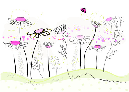 cartoon banner: Daisy spring flowers background. Floral abstract background, vector illustration