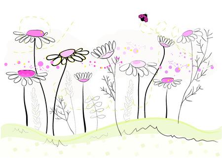 Margarita flores de primavera de fondo. Fondo abstracto floral, ilustración vectorial Foto de archivo - 50327146