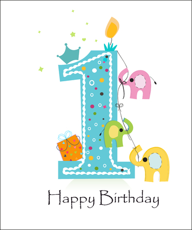 First birthday candle with elephant greeting card vector Illustration