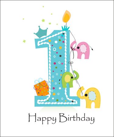 Primera vela de cumpleaños con el vector de la tarjeta de felicitación del elefante Foto de archivo - 50327155
