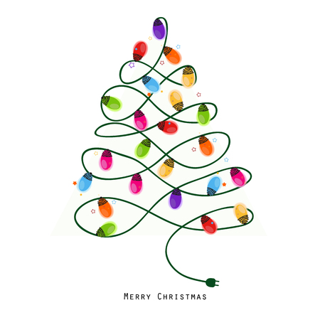 Colorful Christmas tree light bulb new year greeting card vector