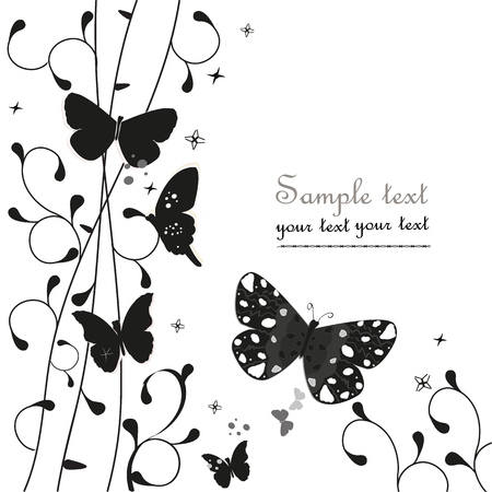 peacock butterfly: Black simple floral ornamental vector greeting card with butterfly