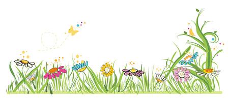 Campo de margaritas ilustración vectorial colorido en primavera Foto de archivo - 50327163
