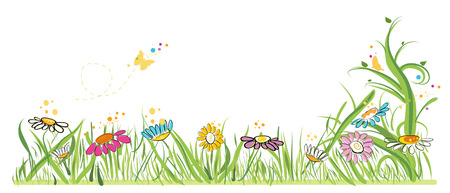cartoon banner: Colorful vector illustration daisy field in spring time