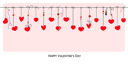 romance: Happy Valentines Day card with hanging hearts vector background
