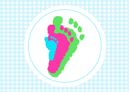 baby foot: Baby foot prints baby shower greeting card with heart Illustration