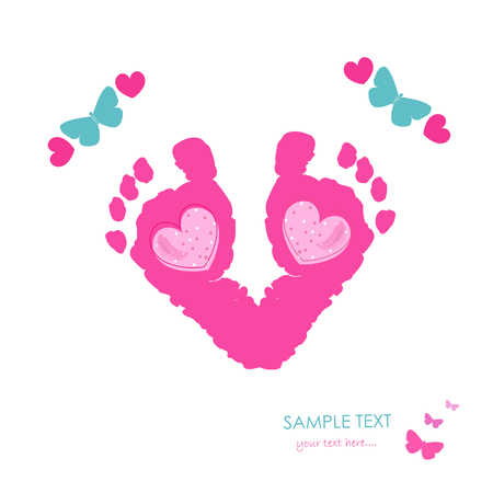 baby foot: Baby newborn baby foot prints and butterfly greeting card vector Illustration
