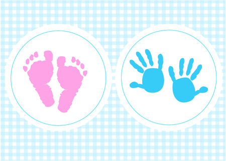 twins: Baby foot prints baby shower greeting card with heart Illustration