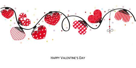 Hearts valentine day Happy valentines day card. Border design vector background
