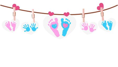아기 발은 마음을 가진 베비 샤워 인사 장을 인쇄한다 일러스트