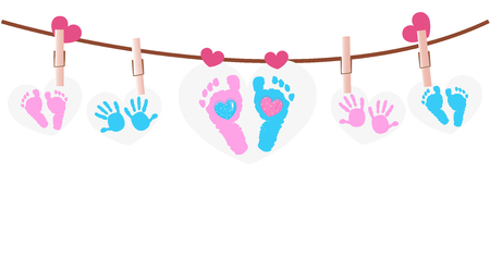 Baby foot prints baby shower greeting card with heart Иллюстрация