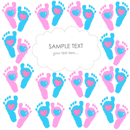 baby foot: Baby foot prints greeting card with hearts vector