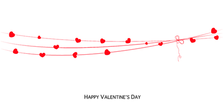 Happy Valentines Day Love Valentines card with hearts hanging banner vector