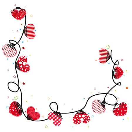 Roze harten valentijn dag vector achtergrond doodle harten Border Stock Illustratie