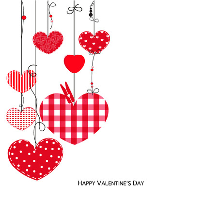 Happy Valentine Day card with love hearts hanging