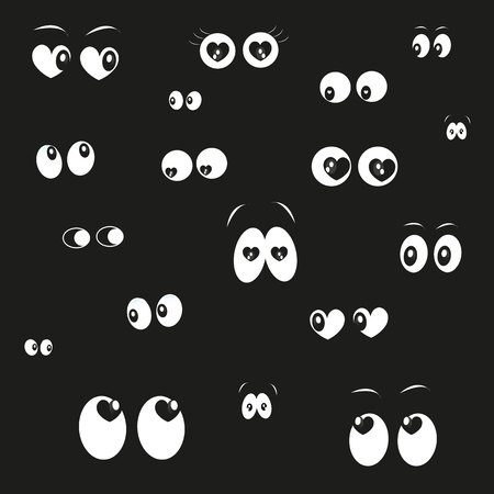 ojos caricatura: Ojos que brillan en la oscuridad del fondo del vector con los corazones