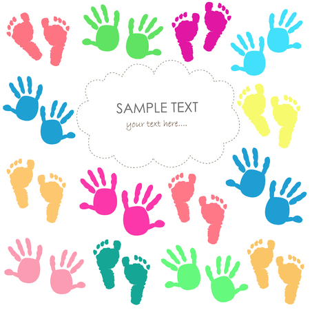 baby foot: Baby foot print and hands vector kids colorful greeting card.
