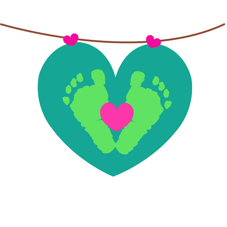 Baby foot prints with hearts hanging vector