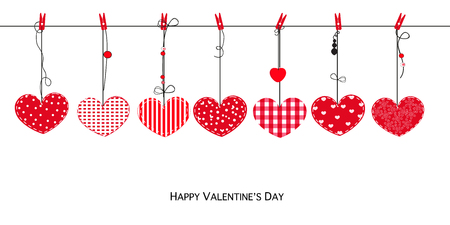 Happy Valentines Day Love Valentines card with hanging hearts vector background